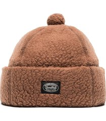 snow peak fleece logo patch beanie - brown
