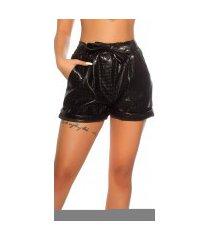 sexy lederlook shorts slangen-print leder look met riem zwart
