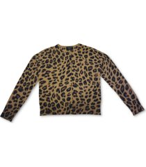 charter club animal-print cashmere cardigan, created for macy's