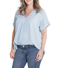 women's ingrid & isabel popover tie waist maternity top, size large - blue
