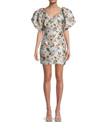 avantlook women's floral balloon-sleeve dress - size s