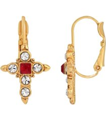 14k gold-dipped crystal dark red cross earrings