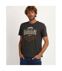 "camiseta masculina bourbon"" manga curta gola careca cinza"""