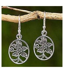 sterling silver heart earrings, 'hollyhocks' (thailand)