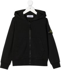 stone island junior logo-patch zipped hoodie