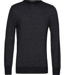 striped cashmere o-neck knit gebreide trui met ronde kraag zwart lindbergh