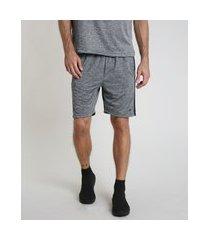 bermuda masculina esportiva ace com faixa lateral cinza mescla escuro
