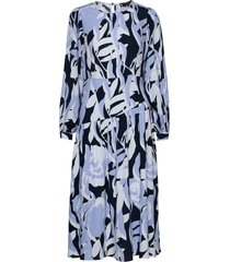 slflinea ls aop midi dress ex knälång klänning blå selected femme