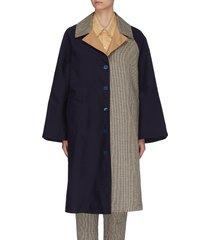 'leonia' colourblock check panel coat