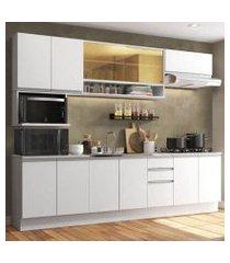 cozinha completa madesa genova com armário e balcão (sem tampo e pia) branco branco