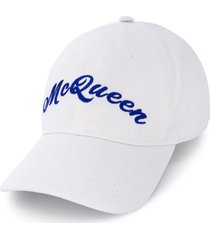 alexander mcqueen embroidered logo baseball cap - white