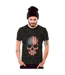 camiseta di nuevo american skull caveira americana preta