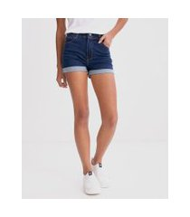 short jeans hot pants com barra dobrada | blue steel | azul | 46