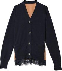 cotton knit cardigan in navy/beige
