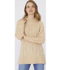 sweater trenzas beige melange corona