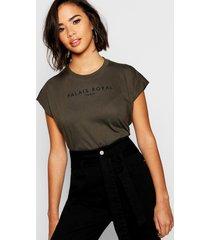 cap sleeve slogan t-shirt, khaki