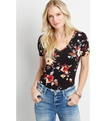maurices womens 24/7 black floral tuck in tee