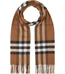 burberry classic check cashmere scarf in birch brown at nordstrom