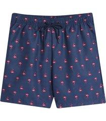 pantaloneta playa flamingo color azul, talla xl