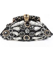 bulgari aida black gold beaded crystal satin clutch bag black/gold sz: m