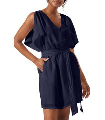 tommy bahama st. lucia split sleeve linen blend cover-up dress, size x-small in mare at nordstrom