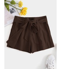 marrón tie-up diseño plain regular fit holiday style shorts