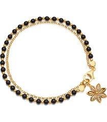 braccialetti con perline di boemia braccialetti a catena con doppio fiore per donne