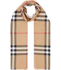 burberry lightweight check wool and silk scarf - neutrals