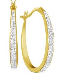 essentials crystal oval hoop earrings in gold-plate