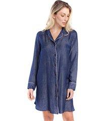 camisão feminino de inverno azul jeans