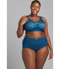 lane bryant women's cotton full brief panty with lace-trimmed back 34/36 poseidon blue