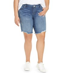 plus size women's slink jeans frayed hem denim bermuda shorts