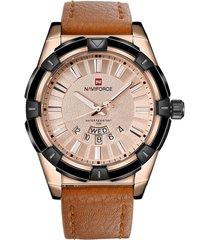 orologi da polso da uomo al quarzo con datario calendario in pelle con cinturino in pelle