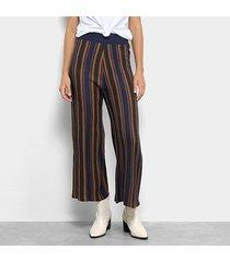 calça pantacourt lança perfume tricot listrada cintura alta feminina