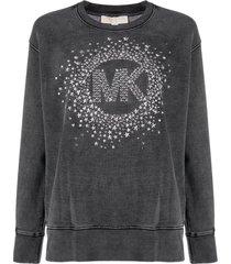michael michael kors logo-studded cotton sweatshirt - black