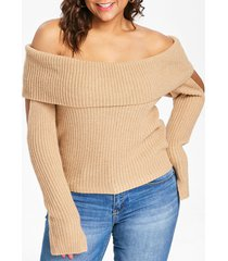 plus size off the shoulder ribbed sweater
