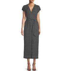 max studio women's belted dot-print jumpsuit - black - size xl
