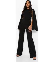petite jumpsuit met cape mouwen, black