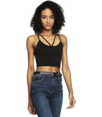 camiseta crop top negra ambiance