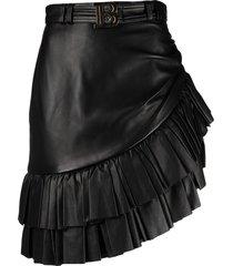 balmain short asymmetric ruffled leather skirt - black