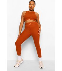 plus premium geribbelde ofcl leggings met hoge taille, terracotta
