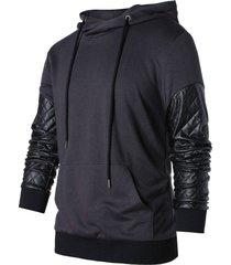 pu leather panel drawstring hoodie