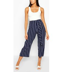 tall belted nautical stripe woven culottes, navy