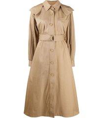 kenzo draped hooded trench coat - neutro