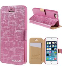 holila textured leather card holder shell for iphone se 5s 5 - rose