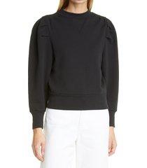 women's frame shirred shoulder sweatshirt, size x-large - black