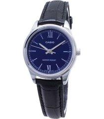 reloj casio ltp-v005l-2b negro cuero