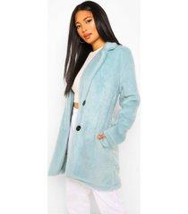 petite nepwollen geborstelde jas, blue