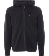 cp company diagonal fleece zip goggle sweatshirt - black - 012a516 999