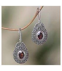 garnet dangle earrings, 'crimson fables' (indonesia)